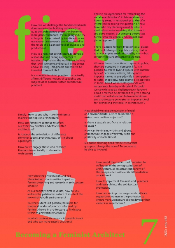 Field: 7 'Becoming a Feminist Architect'